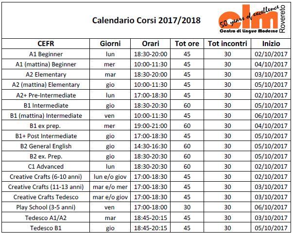Calendario Corsi CLM 17-18